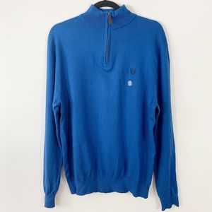 CHAPS .  Cotton Cashmere 1/4 Pullover Sweater . L